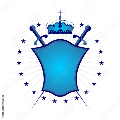 Ornamental blue shield over white background