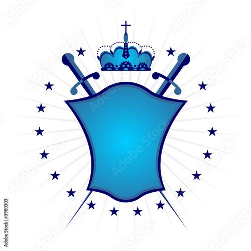 Ornamental blue shield over white background