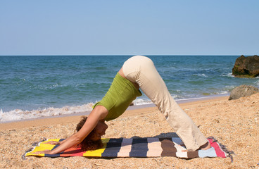 girl in Adho Mukha Svanasana yoga pose