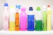Leinwandbild Motiv Bunte Waschmittelflaschen