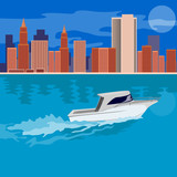 Skyscrapers with speeding boat in the foreground poster