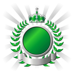 Ornamental metallic and green shield over striped background