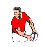 Rugby player passing ball wales poster