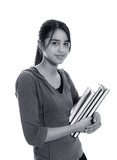 Female university student smiling and carrying some notebooks poster