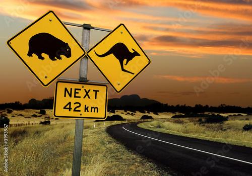 Poster Oceanië Australian road sign