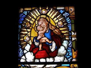 glasfenster maria mit jesus kind nach lucas cranach
