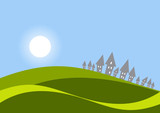 horizont wiese sonne poster