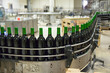 Wine bottles in a production line
