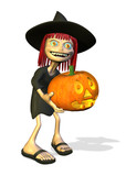 Cartoon Witch with Pumpkin poster
