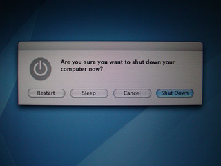 "computer screen showing ""restart, sleep, cancel, shut down"""