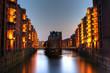 Speicherstadt in Hamburg bei Nacht