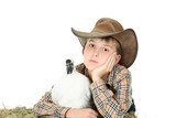 Country boy with farm animal with copyspace poster