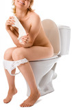 beauty woman sit on lavatory pan