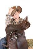 Horse rider tips his hat poster