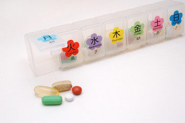 Pill Box With Days Of The Week In Japanese Kanji And English