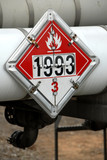 DOT Flammable 3 Placard on fuel tanker poster