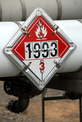 DOT Flammable 3 Placard on fuel tanker
