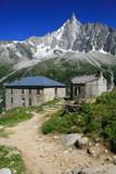 Paysage montagne et refuge du montenvers poster