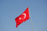 Turkish national flag on blue sky poster