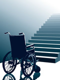 Wheelchair and stairs poster