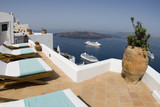 villa view of greek island harbor poster