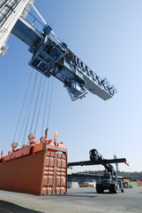 container crane and forklift truck