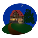 The detailed illustration of the night house