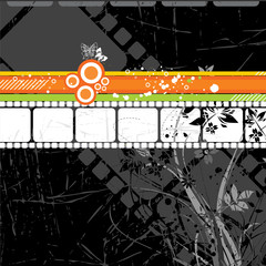 abstract film strip with old floral