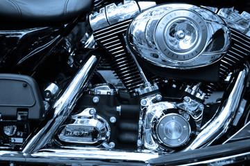 Gros plan sur le moteur d'un moto de légende