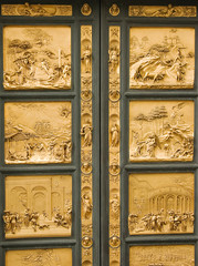 "Entrance door to baptistery ""Paradise Gate"". Florence. Italy."