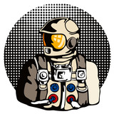 Astronaut with halftone dots poster