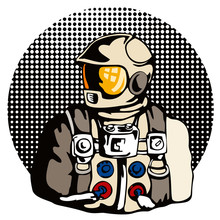 Astronaut with halftone dots