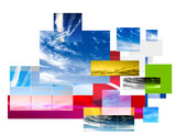 contemporary sky montage layout design poster