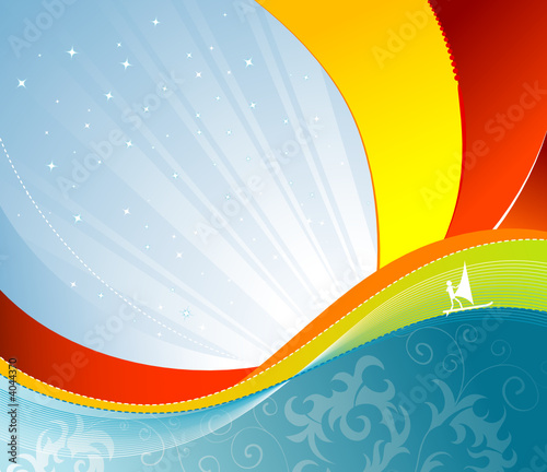 Wave background with windsurfing, vector illustration