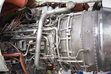 Jet engine at aircraft  in the hangar