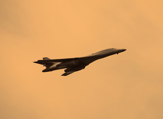 Strategic bomber carrying nuclear weapons