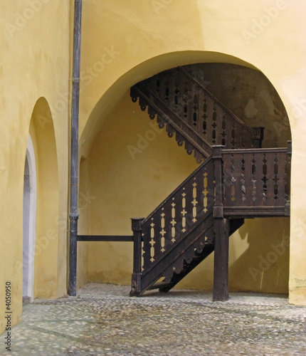 old staircase in mokrice old town