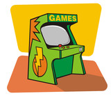 Vector drawing of a retro game coin console poster