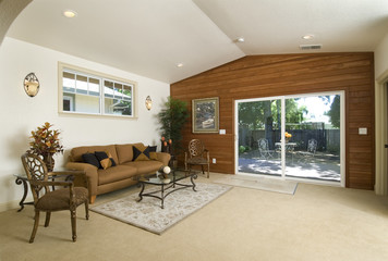 family room with patio doors