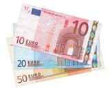 three Euro banknotes poster
