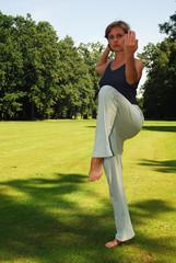 beautiful woman exercising yoga