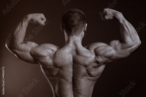 The muscular male with the naked torso