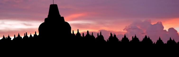 Indonesia, Java, Borobudur: Sunset