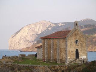 Santa Catalina church and Ogoño rock mountain, Mundaka, Spain