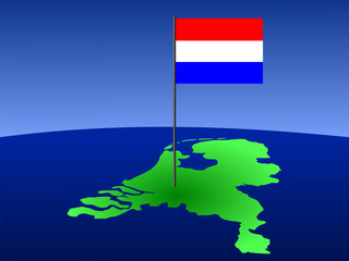 Dutch flag on map