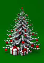 christmas tree made of cubes with red bomlets and presents