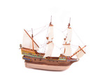 model of old ship on the white background poster