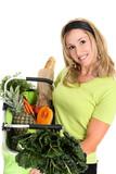 Woman displaying bag full of groceries poster