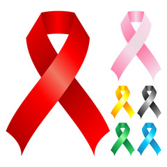 Support ribbons with different colors over white background