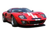 Isolated Classic red racing car
